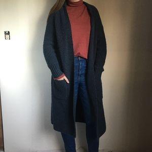 Oversized long navy blue cardigan